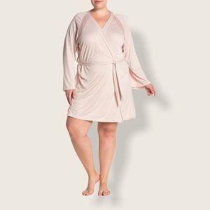 Cosabella 2X plus size pink lace trim robe